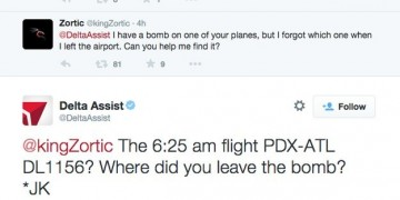 Unknown user threatens Delta Airlines on Twitter